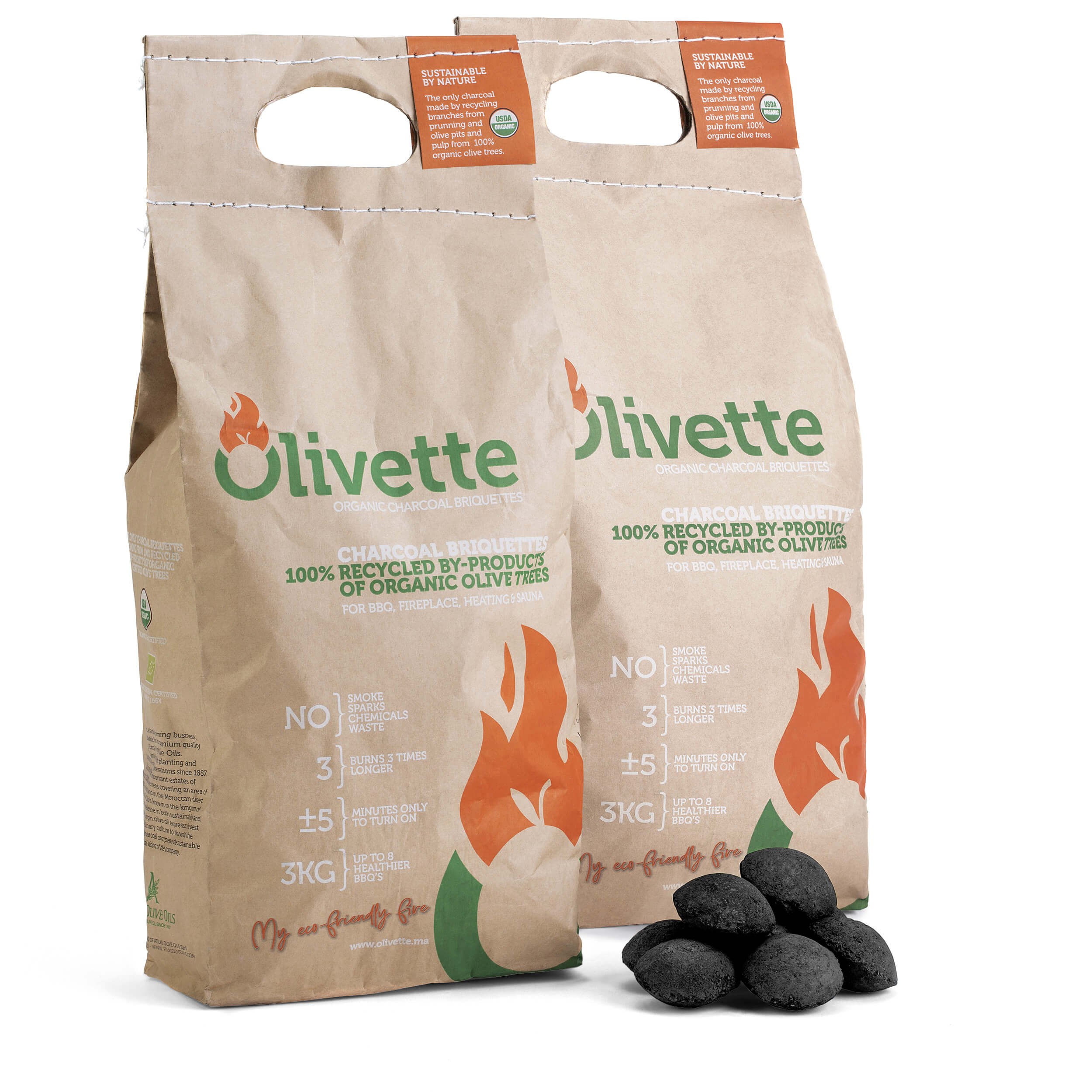 OLIVETTE 1st organic briquettes in the US market! Smoke free, long lasting. Natural. Made from recycling.